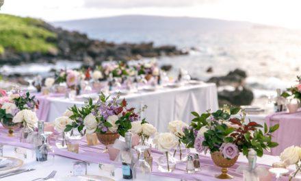 Dusty Rose Maui Wedding