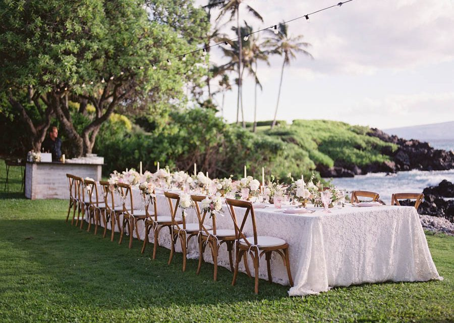Blush + White Kukahiko Estate Maui Wedding