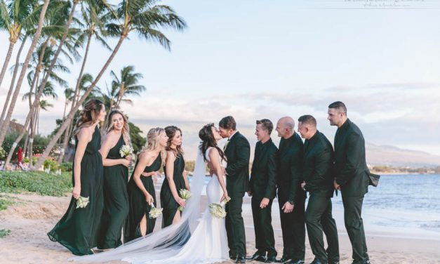 Black and White Maui Wedding