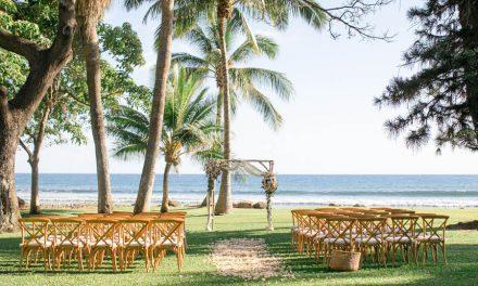 Peach and Blue Maui Wedding at the Olowalu Plantation House