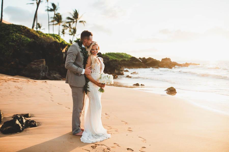 Romantic Winter Beach Elopement on Maui